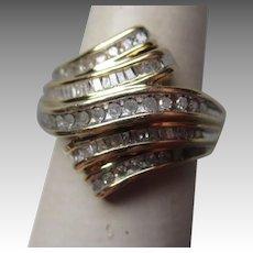 Beautiful 10k Gold and Diamond Bypass Ring