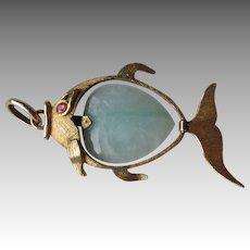 Stunning 14k Gold and Jadite Fish Pendant