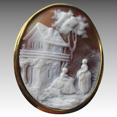 Gorgeous Carved Shell Cameo with 10k Gold Frame - Scenic