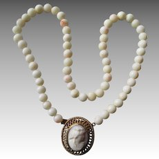 Stunning 14k Gold Carved Pink Coral Cameo Necklace