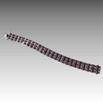 Beautiful Sterling Silver and Amethyst Tennis Bracelet