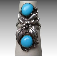 Great Signed Sterling Silver and Turquoise Ring