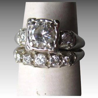 Stunning 14k White Gold - 0.5ct Diamond Wedding Ring Set