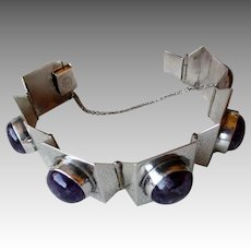 Gorgeous Mexico Sterling Silver and Amethyst Link Bracelet
