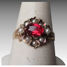 Victorian 10k Rose Gold Spinel with Seed Pearl Ring