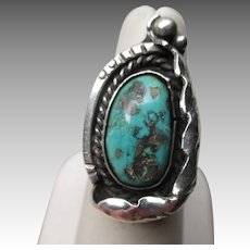 Great Signed Silver & Turquoise Ring - Fortunate Eagle