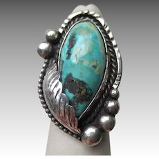 Fabulous Signed Silver and Turquoise Ring - Fortunate Eagle