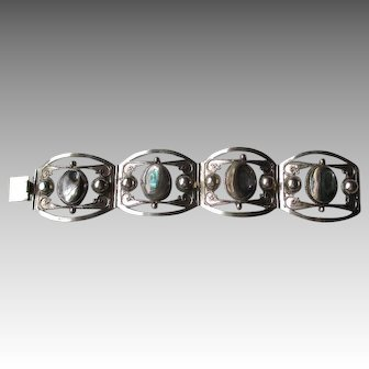 Beautiful Taxco Sterling Silver and Mother of Pearl Bracelet