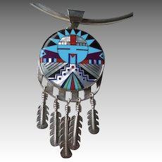 Top Quality Signed Zuni Inlaid Sun Pendant Necklace