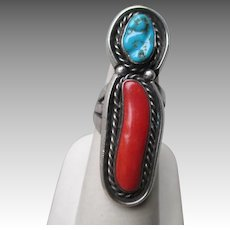Fabulous Unmarked Silver and Turquoise with Coral Ring