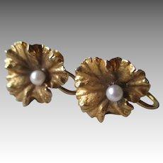 Beautiful 14k Gold and Pearl Leaf Earrings