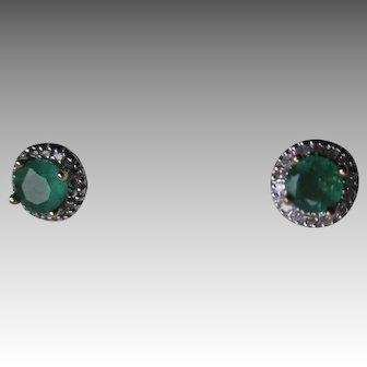 Beautiful 14k Gold and Emerald Earrings