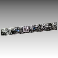 Gorgeous 10k White Gold Art Deco Bracelet with Blue Sapphires and Diamond