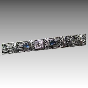 Gorgeous 10k White Gold Art Deco Bracelet with Blue Sapphires and Diamond