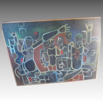 Great Original Signed Abstract Oil Painting from India - Manash