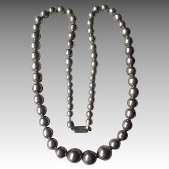 Large Strand Graduated Mexican Sterling Silver Beads