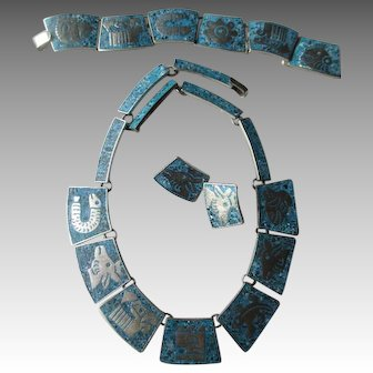 Sterling Silver & Turquoise Inlay Set - Necklace, Bracelet, Earrings