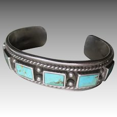 Beautiful Sterling & Turquoise Cuff Style Bracelet