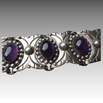 Stunning Taxco Sterling Silver & Amethyst Link Bracelet