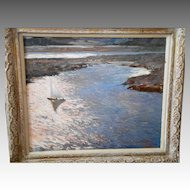 Original Oil Painting - Fremont F Ellis (1897-1985) - Sailboats in the Sun