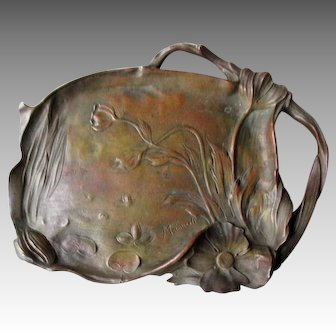 Signed Bronze Art Nouveau Tray - F. Madurell
