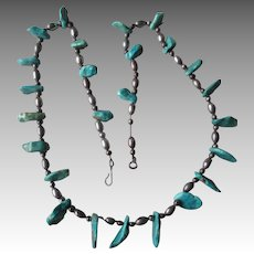 Beautiful Silver and Turquoise Nugget Necklace