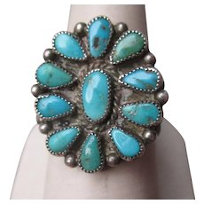 Wonderful Silver and Turquoise Zuni Ring