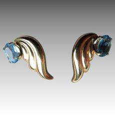 14k Gold and Blue Topaz Earrings