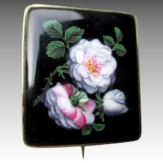 Victorian Hand Painted Glass Pin / Brooch w/ 14k Gold Frame