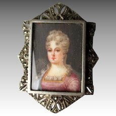 Vintage Sterling Silver Painted Portrait Pin / Brooch