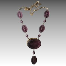 Edwardian Etched Amethyst Glass Necklace