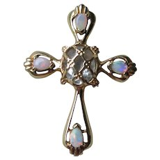 Beautiful 14k Gold Aquamarine & Opal Cross Pendant