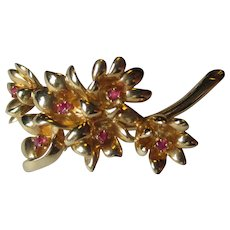 Tiffany & Co 14k Gold and Ruby Flower Pin or Brooch