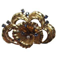 Stunning 14k Gold and Sapphire Pin or Brooch