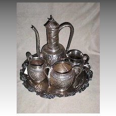 "Magnificent Victorian Silver Plate ""Islamic"" Pattern Tea Set"