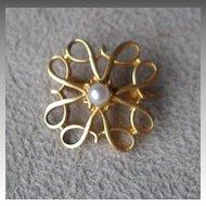 Wonderful Vintage 9ct Gold / Pearl Pin or Brooch