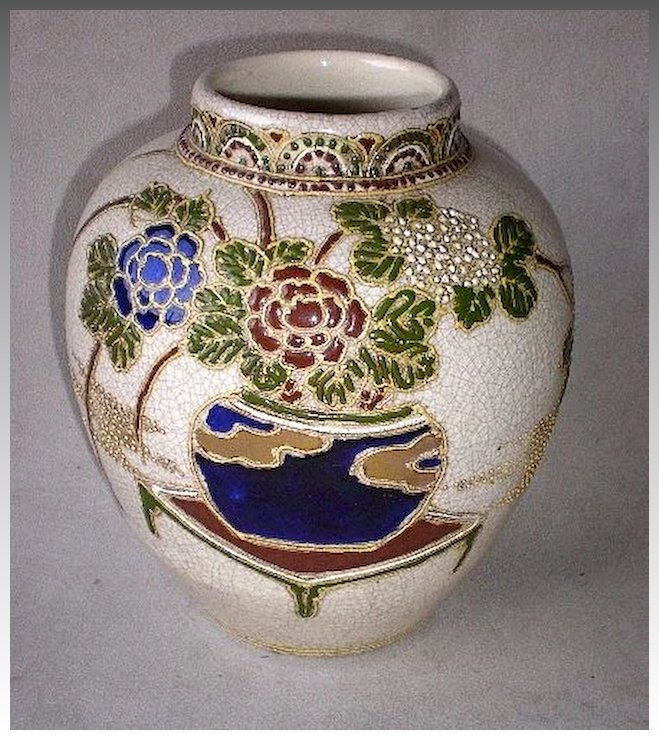 Stunning Nippon Moriage And Beaded Vase Diamond Antiques Ruby Lane