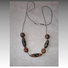 Gorgeous Black & Brown Coral Bead Necklace from Belize