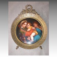 Gorgeous KPM Framed and Painted Plaque - Madonna & Child