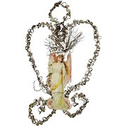Antique Victorian Diecut Scrap Tinsel Wire Wrapped Christmas Ornament - Angel