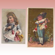 2 Antique Victorian Trade Cards w Bisque Doll Theme! Eye Water, Metal Polish