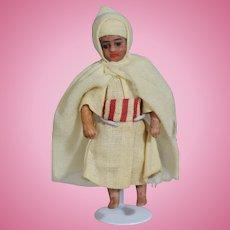 Antique French SFBJ Lilliputian All Bisque Doll - Swivel Neck!
