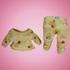"Vintge 1950s Dydee Nitey Nite Doll Pajamas w Cute Motif! 12"" Doll"