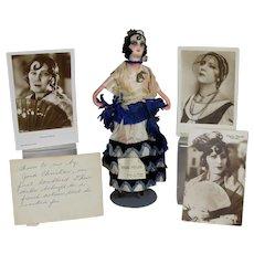 1920s French Boudoir Doll Spain Silent Film Actress Raquel Meller w Provenance