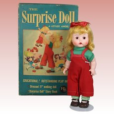 """RARE! 1956 R&B Littlest Angel """"The Surprise Doll"""" in Orig Box w Book"""