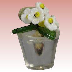 Antique Czech Glass Mini Doll Size Flower Pot