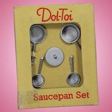 Vintage Doll Metal Saucepan Set in Orig Box! Dol-Toi England