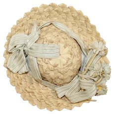 """Vintage Straw Hat for Cabinet Size Bisque Doll! 5"""" Head Circumference"""