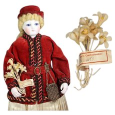 Antique Bouquet Wax Flowers w Orig Label for French Fashion Doll!