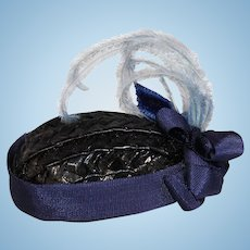 Lovely Decorated Small Straw Hat for Cabinet Sized Bisque Doll!